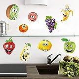 ufengke Wandtattoos Küche Obst Wandsticker Wandaufkleber Banane Zitrone Apfel für Kinderzimmer W