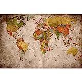GREAT ART® XXL Poster – Retro Weltkarte – Wandbild Used Look Dekoration Globus Kontinente Atlas Weltkarte Old School Vintage Map Weltkugel Geografie Wandposter Wanddeko Bild (140 x 100 cm)
