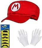 Balinco Super Mario Mütze rot im Komplettset mit weißen Handschuhen und Klebe-Bärten für Erwachsene und Kinder Karneval Fasching Motto Party Verkleidung Kostüm Mützen Hut Cap Herren Damen Kapp