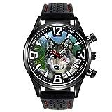 Timest - Indianischer Wolf - Herrenuhr mit schwarzem Silikonarmband Rund Analog Quarz CSF043LZ