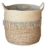 YZLSM Woven Korb Seegras Korb Handgemachte Pflanze Blume Woven-Speicher-Korb Handgriff Für Lagerung Wäscherei Anlagen Style2 Gartenzubehör
