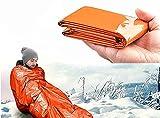Rettungsdecke Ultraleicht Hitzeabweisend Kälteschutz Rettungsfolie Notfalldecke Notfall-Zelt Biwaksack Survival Schlafsack Outdoor Camping Wandern Mylar Blanket (Orange)
