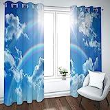 MENGBB Blickdicht Vorhang Kinderzimmer Mikrofaser 200x160cm Blauer Himmel und weiße Wolkenlandschaft Ösen 95% Blickdicht Gardinen Mädchen Junge Schlafzimmer Wohnzimmer dekorativ