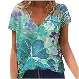 LSEEKA Damen T-Shirt Plus Size Damen Kurzarm Vierblättriges Kleeblatt Bedruckte T-Shirt-Bluse mit V-Ausschnitt (Blau, M)