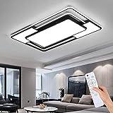 Style home LED Deckenleuchte Deckenlampe 109W, voll dimmbar mit Fernbedienung, Leuchte für Wohnzimmer, Schlafzimmer Esszimmer Küche Büro, Rechteckig, 90 * 60 * 6 cm (Schwarz)