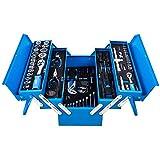 DeTec. Blue Edition klassische Metall-Werkzeugkasten gefüllt mit Werkzeug - 86tlg. Sortiment - blau