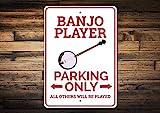 Inga Banjo Player Parkschild Banjo Spieler Schild Banjo Spieler Geschenk für Banjo Besitzer Schild Banjo Dekor Banjo Schild Vintage Metallschild 20,3 x 30,5 cm