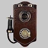 DIHAO Europäische antike Holzwand Vintage Retro Karte drehen drahtlos drahtgebundenes Festnetz schnurgebundenes analoges Telefon