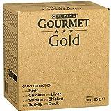 GroßhandelPL Gourmet Gold Katzen-Nassfutter Zarte Häppchen in Soße (4 Sorten gemischt) 96er Pack ( 96 x 85 g)