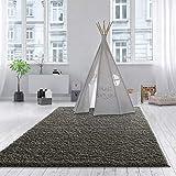 Teppich Wölkchen Shaggy-Teppich | Flauschige Hochflor Teppiche für Wohnzimmer Küche Flur Schlafzimmer oder Kinderzimmer | Einfarbig, schadstoffgeprüft, allergikergeeignet (Dunkelgrau, 160 x 230 cm)