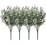 Briful 4 PCS Künstliche Eukalyptusbusch Kunstpflanze Eukalyptusstiele Blattspray Faux Eukalyptus Plastikpflanzen für Home Party Hochzeitsdekoration Blumenarrangement