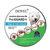 DEWEL Verstellbar Zecken Halsband für Hunde und Katze, 63.5cm Floh Zecken Kragen Floh-und Zecken Prävention Halsbänder Wasserdicht Hund Flohhalsband