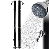 Arebos Solardusche | 20 Liter | 221 cm | mit integriertem Thermometer & Fußdusche | Schwarz | runder Duschkopf | Wassertemperatur bis 60°C | Gartenschlauch-Anschluss | inkl. Montagematerial