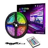 3m RGB LED Strip Lights, IP65 Colored USB TV Backlight with Remote, 16 Color Changing 5050 LEDs Bias Lighting for HDTV, Multicolor for TV PC Background Lighting (3m)