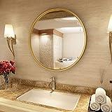 VOCD Runder Wandspiegel, Wanddekor Mit Glatter Oberfläche, Flurspiegel Badezimmerspiegel Wohnzimmerspiegel Kaminspiegel, Schmiedeeisenspiegel