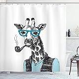 ABAKUHAUS Hipster Duschvorhang, Mensch Verkleidete Giraffe Brillen Zigarre Karikatur, Wasser Blickdicht inkl.12 Ringe Langhaltig Bakterie und Schimmel Resistent, 175 x 200 cm, Babyblau Dunkelasche
