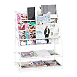 Relaxdays Zeitschriftenregal Metall, HBT: 81 x 67 x 37 cm, moderner Magazinständer, freistehend, für Wohnzimmer, weiß, 1 Stück