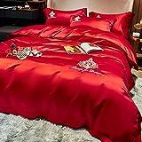 Cactuso Bettbezug 155 220,Luxus-EIS-Seide 4 Sets Von Sommerseiden-Slip-BläTtern-Rot 3_1,8m Bett 4 StüCk