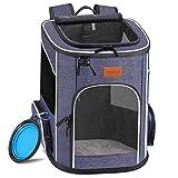 morpilot Hunderucksack, Katzenrucksack für Katzen und Hunde Welpen, Atmungsaktive und Faltbare Haustier Hunde Rucksack mit internem Sicherheitsgur (13 * 11 * 16.5 inch) + Faltbare Hundenap