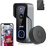 Video Türklingel mit Kamera +Innen-gong,AWOW 1080P HD Video Doorbell mit 16GB Speicherkarte,Gegensprechfunktion,IP65 Wasserdicht,Bewegungsmelder,WLAN 2,4G,Unterstützung für DC12v und AC12-24V Trafo
