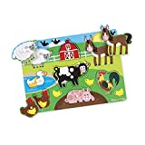 Melissa & Doug Wooden Peg Puzzle - Farm Animals   Puzzles   Wood   2+   Gift for Boy or Girl
