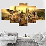 6Lv5Panel Leinwanddrucke Hogwarts Castle 5 Panel Leinwand, Hogwarts Wand Kunstdruck, Harry Potteres Poster-150 * 80Cm-Rahmen