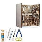 QAQWER Buchstütze Holzbausatz Bücherständer Modell mit Installationswerkzeugen Fernbedienung LED Wandleuchte DIY Bücherregal Dekor Modellb