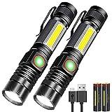 Karrong LED Taschenlampe Magnet Wiederaufladbare, Super Helle CREE Taschenlampen, Taktische USB Taschenlampe mit Zoom für Camping, Wandern und Notfälle (mit 18650 Akku)