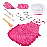 TongICheng Chef-Set für Kinder Küche Role Play-Koch-Kostüm-Rosa mit Schürze Chef-Hut Utensilien Kochen Mitt Kinder Backen Bekleidung