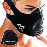 TRAININGMASK Trainingsmaske 3.0, schwarz, für Leistungs-Fitness, Workout-Maske, Laufmaske, Atemmaske, Widerstandsmaske, Cardio-Maske M Schwarz + Etui
