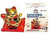 Chinesische Glücksbringer mit Pampe, solarbetrieben, Rot und Gold, H=9 x 8 x 9,5 cm