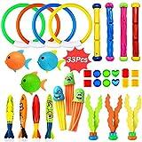 Dulabei 33 Stücke Tauchspielzeug Tauchen Spielzeug Tauchring,Schwimmbad Spielzeug Unterwasser Tauch Pool Spielzeug zum Tauchen Lernen für Kinder Jungs M