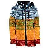 KUNST UND MAGIE Damen Strickjacke Goa Wolle Jacke mit Abnehmbarer Zipfelkapuze Fleecefutter Rainbow, Größe Damen:34-36