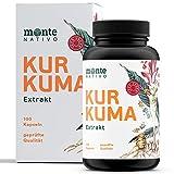 Kurkuma Extrakt Kapseln - Monte Nativo - 100 Kapseln - Curcuma Extrakt - Hochdosiert mit 95 % Extrakt und hohem Curcumingehalt - Vegan - Laborgeprüft - Ohne Zusatzstoffe - Hergest. in D