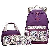 Schulranzen Rucksack Canvas mit Lunchbox und Handtaschen für Mädchen Teenager Sekundär/College Schule Studenten Ranzen Buch Laptop Tasche mit USB-Anschluss Reiserucksack Frauen (lila)