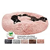 Hundebett Flauschig, Hundekissen Rund Haustierbett Donut Katzenbett Waschbar, kuschelbett Hund für Katzen Hunde (Ø 50-120cm / 7 Größen)