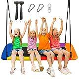 COSTWAY Baumschaukel Nestschaukel 100-180cm verstellbaren Seil, Hängeschaukel 320kg Tragkraft, Mehrkindschaukel Gartenschaukel für Kinder & Erwachsene 150x80cm (Bunt)
