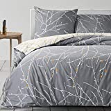 BEDSURE Bettwäsche 135x200 Baumwolle Grau/Beige- Bettbezug Set mit schickem Zweige Muster, 2 teilig weiche Bettbezüge mit Reißverschluss und 1 mal 80x80cm Kissenbezug