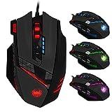 Zelotes Gaming Maus,12 programmierbare Tasten Gamer Maus mit Kabel, PC Computer Maus Mouse für Pro Gamer,Einstellbare LED Backlight (Schwarz)