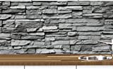 KLINOO Küchenrückwand aus Folie in Steinoptik als Spritzschutz - zuschneidbar und erweiterbar - 97cm x 68cm (Naturstein grau)