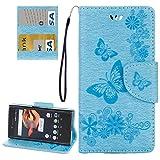 BEIJING ♋ PROTECTIVECOVER + for Sony Xperia x Kompaktschmetterlinge prägen horizontales Flip-Ledertasche mit Halter & Karten-Slots & Wallet & Lanyard, Mode Schutz Telefon Fall (Color : Blau)