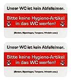 BIKE-label Schild 3D Aufkleber 125 x 70 mm 2 Stück keine Hygieneartikel ins WC 900214VE