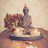 Buddha Sitzend mit Teelicht 22cm Deko-Statue für Wohnzimmer oder Bad Zen-Garten Deko-Figur Teelichthalter orientalisch (Nr. 1)