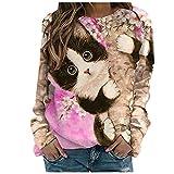 Damen Rundhalsausschnitt Pullover Fashion Animal Drucken Langarm Top Locker T-Shirt Basic Top Oberteile Sweatshirt(Rosa,L)