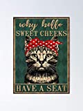 AZSTEEL Cat Why Hello Sweet Cheeks Have A Seat Poster Best Gift 11.7'x16.5' for Friends Family