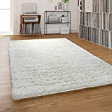 Paco Home Hochflor-Teppich, Shaggy Waschbar Für Wohnzimmer Und Schlafzimmer, Beige Creme, Grösse:140x200 cm