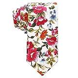 AUSKY Bedruckte Krawatte mit Blumenmuster für Herren, Baumwolle, schmale Krawatte, dünne Krawatten (4 Packungen und 1 Packung zur Auswahl) - Wei� -