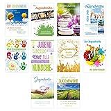 Edition Seidel Set 10 Premium Karten zur Jugendweihe mit Umschlag (Doppelkarten/Klappkarten mit Briefumschlag) Karte Postkarte Jugendweihekarten