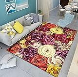 Fußmattenteppich Des Nordischen Haupteingangs, Großer Teppich Des Wohnzimmer Mit Buntem Blumendruck, Kinderkrabbelmatte 120x160cm