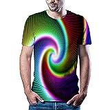 Qier Tshirt Herren Grafische Kurzarm-T-Shirt-Oberteile, Abstrakter Visueller 3D-Druck, Braun, XL